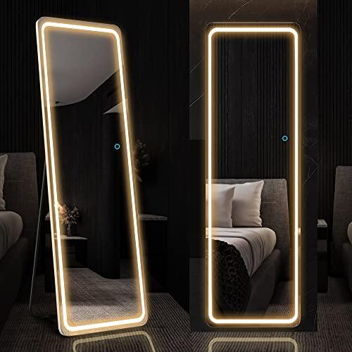LVSOMT Specchio da parete con illuminazione a LED,160 x 50 cm, specchio per il corpo intero con illuminazione a LED,specchio da pavimento autoportante,specchio da parete,per camera da letto (bianco)