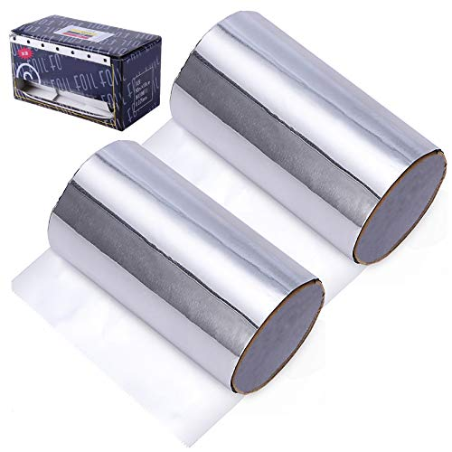 2 pezzi carta stagnola per parrucchieri 4 m x 8,4 cm/rotoli lamina per capelli stagnola Carta Stagnola Alluminio rotolo di lamina per capelli foglio di alluminio per cucina salone di arte del chiodo