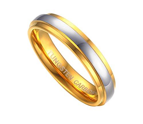 PAURO Coppia Carburo di Tungsteno Comfort Matrimonio Anelli 6mm per Uomini Promettono Argento Oro Bicolore Taglia 8