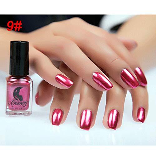 Whiie891203 Smalto per Unghie Specchio da 6 Ml, Strumento per Manicure con Effetto Specchio Metallico Cromato, Smalto per Unghie # 9 Rosso Specchio