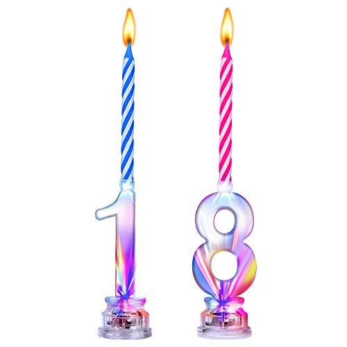 18 ° Compleanno Candele LED Candela Numero Lampeggiante Candele Compleanno con 8 Candele Cera per Forniture Celebrazione di Anniversario Matrimonio Compleanno