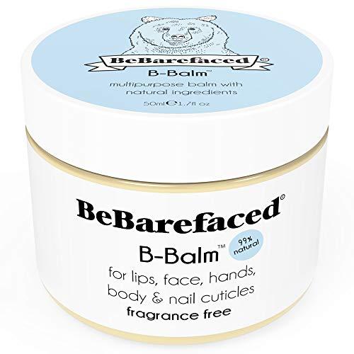 Balsamo-B BeBarefaced multiuso – Naturale al 99%, balsamo vegano per labbra, viso, mani, corpo e cuticole delle unghie. Idratante senza profumo per pelle secca e sensibile con vitamina E