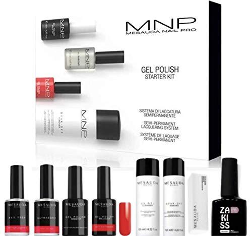MNP Mesauda Nail Pro Gel Polish Starter Kit completo con scatola e Ultrabond, Nail Prep, Base&Top, Nail Colour Milano Red, Buffer, UV Gel Cleanser e Soak-Off Remover