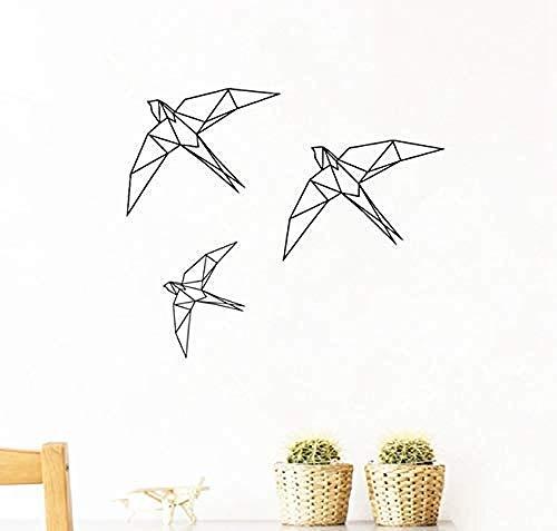 Adesivi murali decorazione tatuaggio da parete origami uccello geometrico animale uccello volante soggiorno camera dei bambini arte naturale moderna 50X42Cm