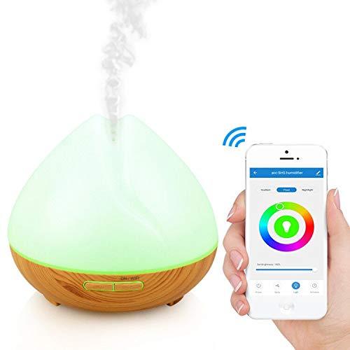 aixi-SHS Wi-Fi Umidificatore diffusore olio essenziale 400ml-compatibile con Amazon Alexa Echo, Google Home-Mist regolabile, impostazione temporizzata, luce notturna a LED-Smart Life APP