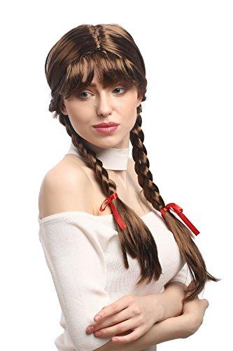 WIG ME UP - XR-008-P6 Parrucca Donna Carnevale Cosplay Trecce con Fiocchi Frangetta Scolaretta Lolita Castano Circa 60 cm