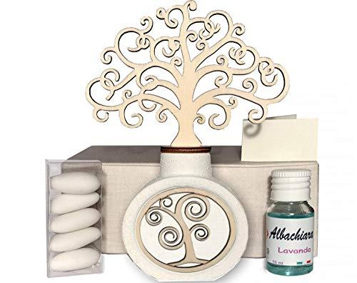 Regalami.shop, profumatore albero cm. 14,5 con scatola, confetti, essenza, nastro, per tutte le cerimonie