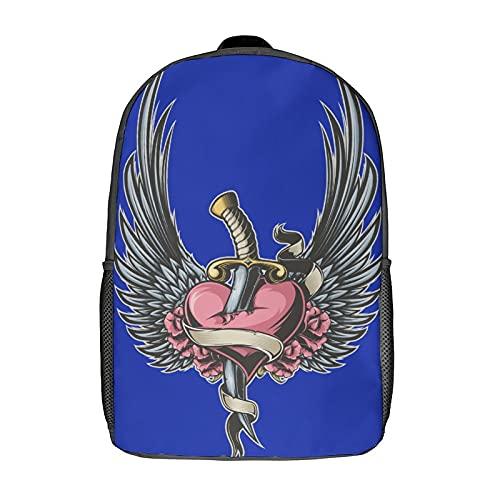 Creatività Impermeabile per bambini bambini studenti della scuola zaini bookbags elegante stampato Ali Tatuaggio Arte Cuore Coltello Chr, nero-stile-3, Taglia unica