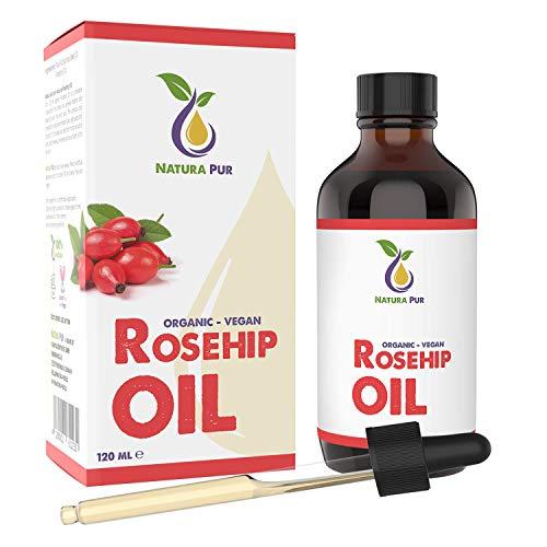 NATURA PUR Olio di Rosa Mosqueta Puro 120ml (Olio di Rosa Selvatica) - 100% biologico, spremuto a freddo, vegano - per viso, corpo, capelli, pelle, mani