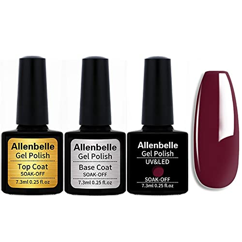 Allenbelle (Base & Top Coat + one colore) Smalto Semipermanente Nail Polish UV LED Gel Unghie Base Coat&Top Coat (Kit di 3 pcs 7.3ML/pc) 1345