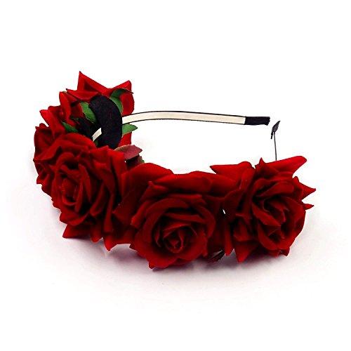 JZK Cerchietto rose rosse capelli fascia fiori per bambina donna per Dia De Los muertos Halloween matrimonio damigella d'onore sposa corona fiore