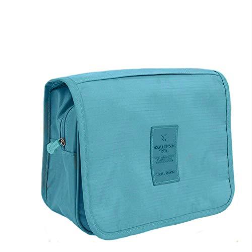 Amoyie - Beauty case da viaggio + Una custodia per spazzolino da denti in silicone, borsa da toilette Donna, cosmetici borsa per accessori bagno, verde