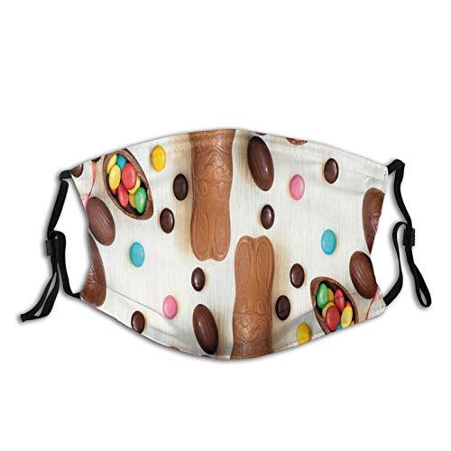 FULIYA confortevole maschera antivento con filtro, ornamenti colorati per le vacanze primaverili con simpatico uovo di cioccolato, decorazioni per il viso per adulti donne e uomini