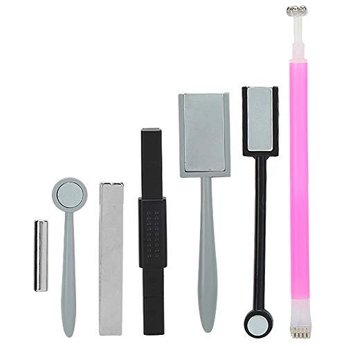 7Pcs Set di strumenti per magneti per unghie, nail art Piastra magnetica fai-da-te Design floreale a doppia testa Penne magnetiche per unghie Cat Eye Magnete Stick