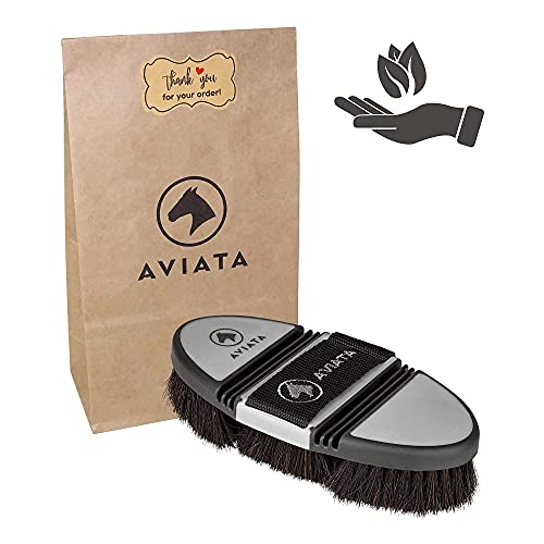 AVIATA ErgoFlex - Spazzola per cavalli, con setole morbide di crine di cavallo, per la pulizia, la cura e il cambio del pelo