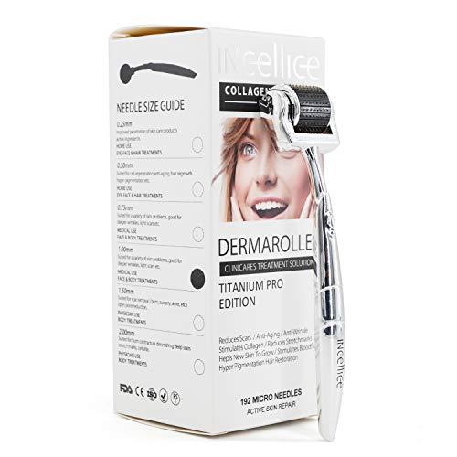 INCELLICE - Dermaroller a 192 punte, 0,5/1,0/1,5/2,0 mm, per la rigenerazione della pelle