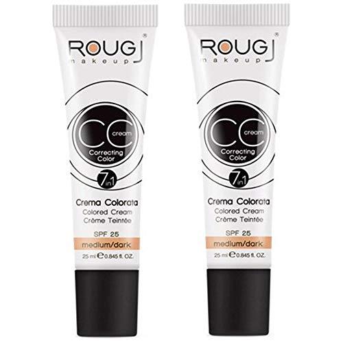 2x Rougj - CC Cream tonalità MEDIUM/DARK - 25 ml con protezione SPF 25 - Pacchetto da 2 CC Cream medio da 25 ml | Make Up, accessori trucco, Fondotinta [in OMAGGIO Tisana alle Erbe TISANIAMO]