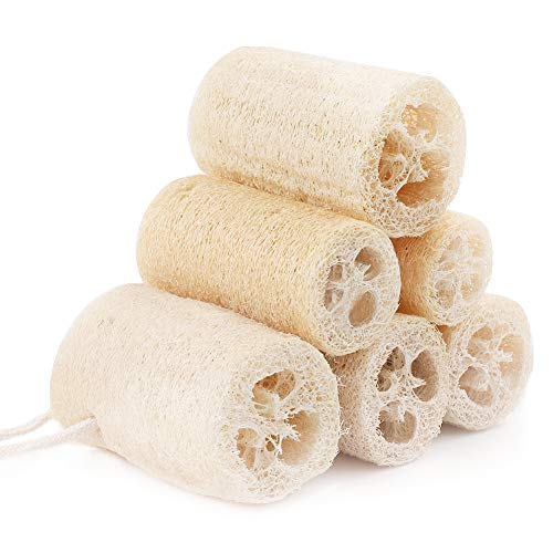 6 pezzi di luffa naturale da 10 cm in spugna luffa per la cura del corpo, per la lavastoviglie, per la pulizia e la doccia, perfetta alternativa alle spugne in plastica (colore primario).