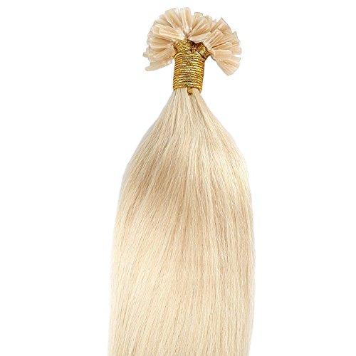 40cm-55cm Hair Extension Cheratina Capelli Veri Naturali 100% Remy Human Hair Pre Bonded U-tip Keratina Allungamento, 100 Ciocche - 16'-50g, 613 Biondo Chiarissimo