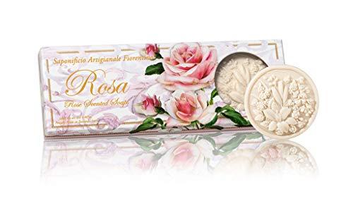 Saponificio Artigianale Fiorentino Rosa sapone, Confezione regalo, Fiori - 3 saponette da 125g