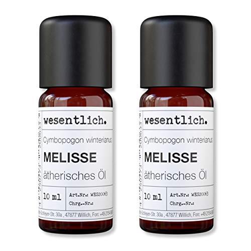 wesentlich. Olio essenziale di melissa, 100% naturale (bottiglia di vetro), per lampada profumata e diffusore (2 x 10 ml)
