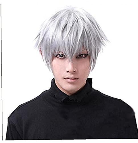 Parrucca corta da uomo Parrucca cosplay Tokyo Ghouls Ken Kaneki Parrucca Cosplay Parrucca elegante per Natale Party Halloween
