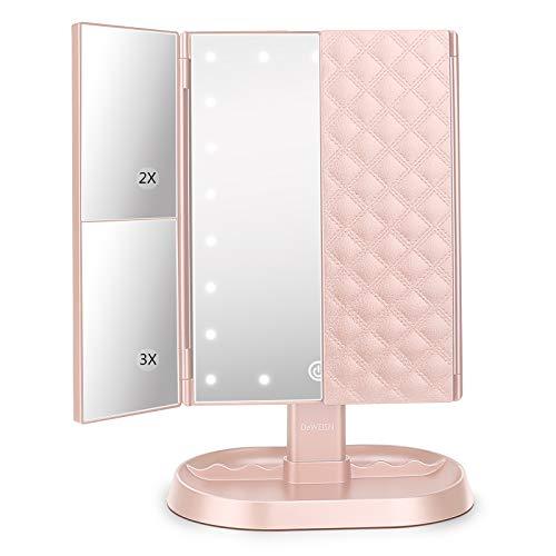 Specchio per il Trucco, Specchio Cosmetico Illuminato con 1x/2x/3x Ingrandimento, 21 LED Specchio Trifold Dimmerabile Caricatore USB/Wireless, Specchio da Tavolo per Viaggio, Regalo per Donne (Rosa)