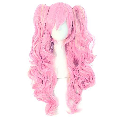 MapofBeauty 28'/70cm Lungo Ricci Donna Intrecciato Parrucche (Rosa)