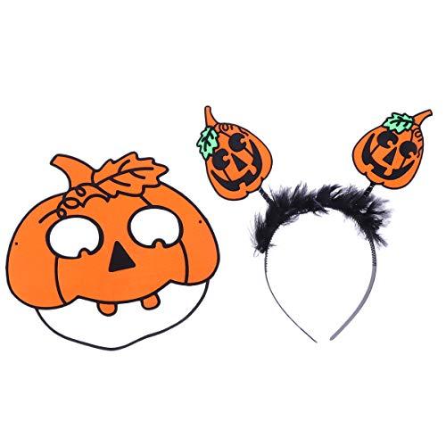 Amosfun Costumi di Halloween Fascia Maschera di Halloween Floccaggio Zucca con Foglia Cerchio per Capelli Maschera Divertente Fascia di Zucca per bomboniere di Halloween