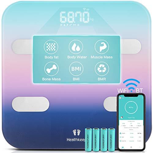 BilanciaPesapersone Digitale Bilancia Impedenziometrica Meccanica, 7 dati chiaramente visualizzati sul display LED super grande, App per iOS e Android, sincronizzazione con Bluetooth e WIFI.180kg.
