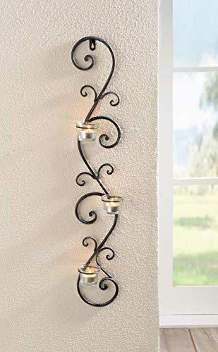 Porta candela da parete, 'Ranke, art. 229023, Metallo, grigio scuro, 12 x 75 cm, Glaswindlicht Ø 6 x 4 cm,