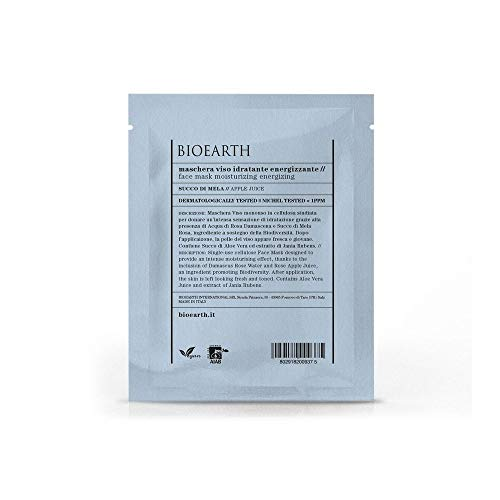 BIOEARTH Maschera Viso Idratante Energizzante Con Succo Di Mela Monouso 15 ml