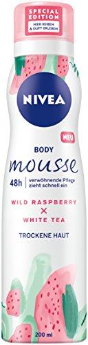 Nivea Corpo Mousse, lampone–Profumo di tè bianco, per la pelle secca, Dispenser, Confezione da (3X 100ML)