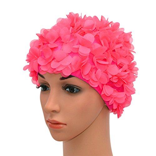 Medifier, cuffia da donna stile rétro con petali, motivo floreale, da piscina, Rose Red