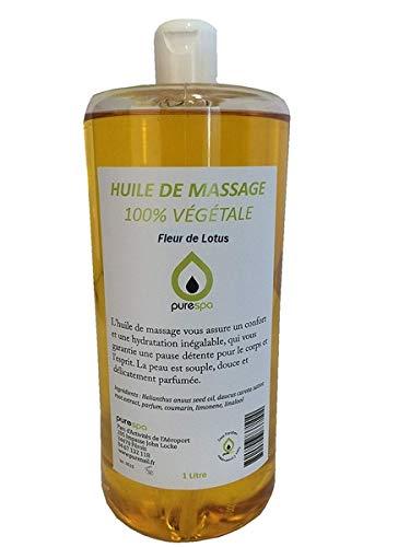 Olio per Massaggi Vegetale profumato al Fiore di Loto, 1litro, Olio lubrificante senza paraffina