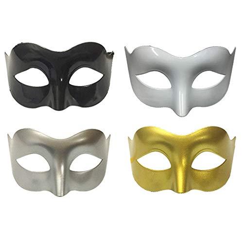 Limeo Maschera Mascherata metà Maschera Maschere Mascherate Maschera Bianca Maschera da Uomo Mascherata Maschera di Halloween Mascherata Maschera Veneziana Maschera Mascherata Nera (4 in Totale)