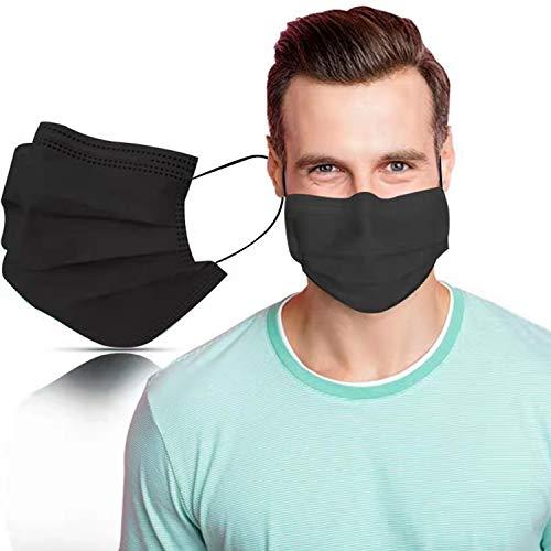 SYMTEX 100 pezzi mascherine bocche 3-ply maschere paradenti maschera viso maschera usa e getta (nere ,nero)