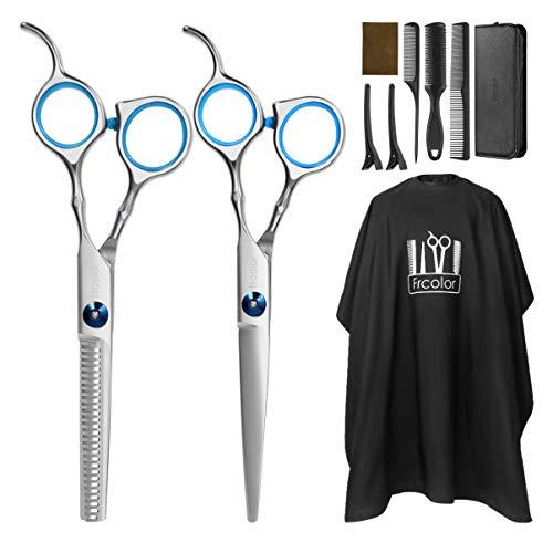 Frcolor - Set di forbici da parrucchiere, forbici per sfoltire i capelli, set con mantella da barbiere, rasoio e clip, set professionale per tagliare i capelli