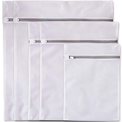 Newk 5 sacchi per bucato, sacchi a rete fine con cerniera premium, borsa da viaggio per organizzare, sacchi per il lavaggio dei vestiti (2 grandi + 2 medi + 1 piccolo)