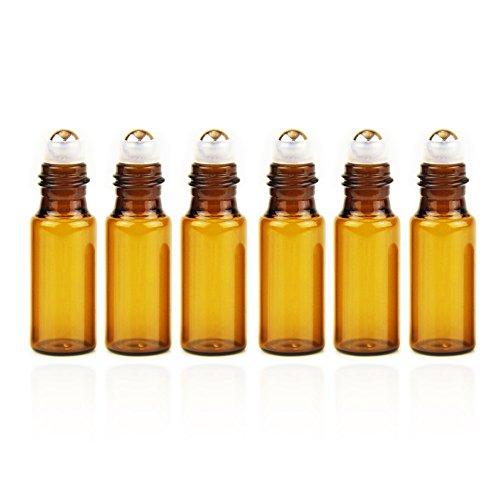 Yizhao Roll On Vuoto per Oli Essenziali,Profumi,5 ml Ambra Bottiglie Vuote in Vetro, con Sfera in Acciaio Inossidabile – 6 PCS