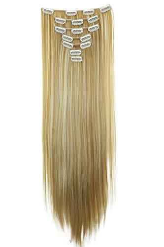 PRETTYSHOP Set per extension con molletta, XL 60cm, capelli finti, estensione dei capelli, resistenti, lisci, diversi colori, 7pezzi