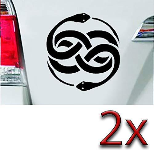 Leon Folie, 2 adesivi con simbolo di serpente, 7,5 x 7 cm, con testa di serpente, cerchio, infinito, per auto, tatuaggio, tuning, pellicola lucida in nero – 2 pezzi