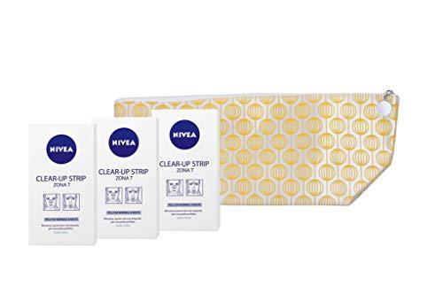 NIVEA Clear-Up Strips Zona T Cerotti Punti neri in Confezione da 3 x 6 Cerotti, Cerotti Anti Imperfezioni Viso, Cerotti per la Pulizia Viso con Pochette in Omaggio