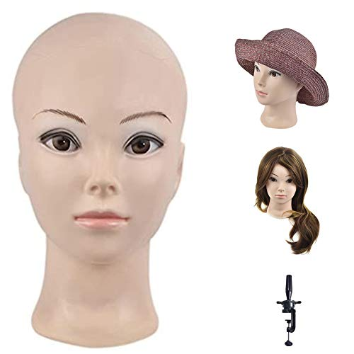 Testa di manichino per formazione e cosmesi professionale, per la creazione e l'esposizione di parrucche, testa di bambola con morsetto incluso