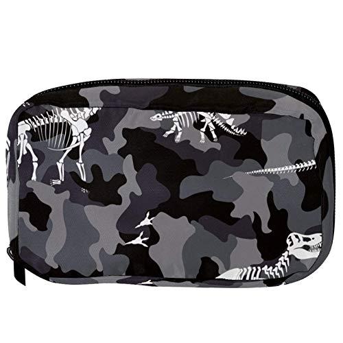 Sacchetti cosmetici mimetici dinosauro fossili Handy Toiletry Travel Bag Oragniser Makeup Pouch per donne e ragazze