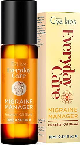 Gya Labs Olio essenziale per alleviare l'emicrania Roll On - Menta piperita e lavanda per alleviare il mal di testa e alleviare lo stress (10 ml) - Miscele di oli essenziali puri e naturali al 100%