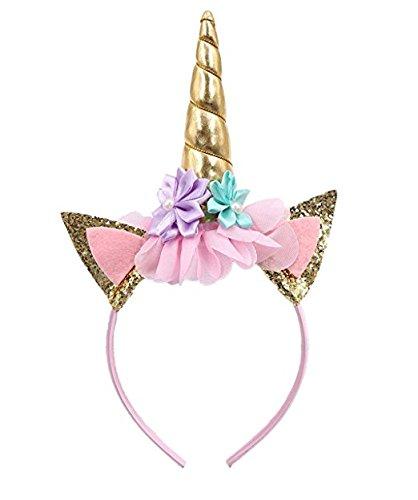 Cerchietto con corno di unicorno, con orecchie con glitter e fiori, decorazione per feste o travestimenti in occasione di cosplay, colore: oro