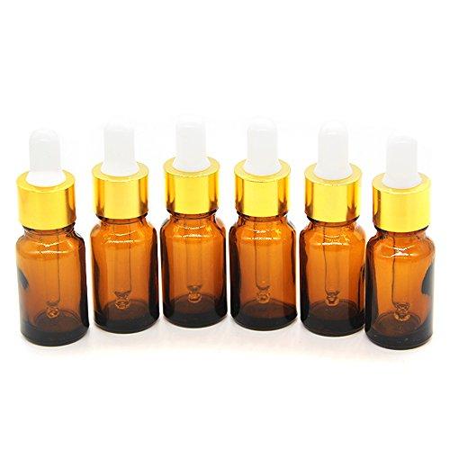 Yizhao Marrone Bottiglie Contagocce Vetro 10 ml, con Pipette Contagocce Vetro, per Laboratorio,Olio Essenziale, Aromaterapia– 12 Pcs