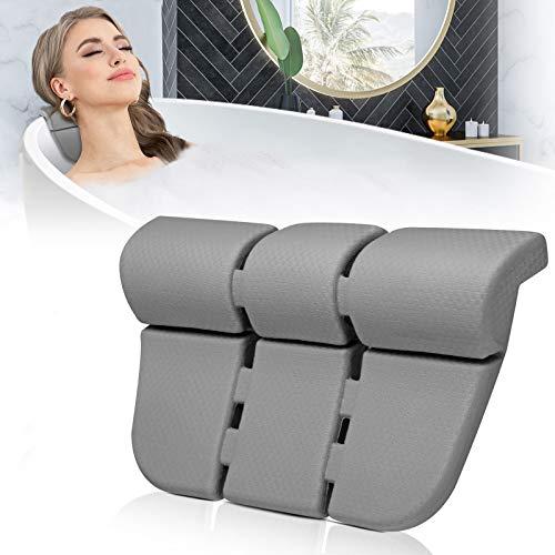 Essort - Cuscino da bagno impermeabile con 3 potenti ventose in silicone, cuscino poggiatesta per vasca da bagno in EVA, morbido e di lusso, per vasca da bagno