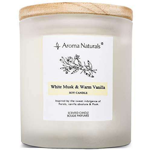 Aroma Naturals, Candela profumata, 35 Ore, Cera di soia con Coperchio di Legno, per Uso Interno, Muschio Bianco e Vaniglia Calda